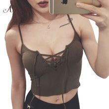 ArtSu Crop Tops Zomer Hol Vrouwen Tops Bandage Strappy Bustier Casual Crop Tank Top Bralette Brandy Melville Camis 252(China (Mainland))