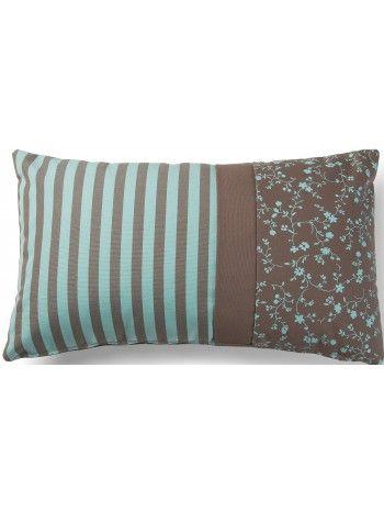 Incantevole cuscino raffinato nei colori, marrone e verde acqua, e nella fantasia. Bello ed elegante, una meravigliosa combinazione di righe e delicati fiorellini.