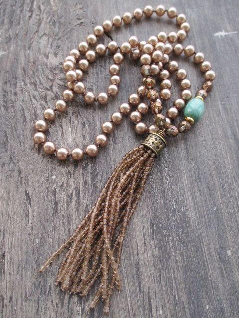 Ombre de perlas perlas borla collar belleza por slashKnots en Etsy