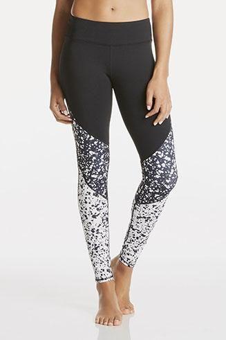 64df514ddf9c5 As seen on Kate Hudson, these leggings are a hot commodity, showcasing this  month's black and white paint print. | Broga… | The Best Fabletics Leggings  ...