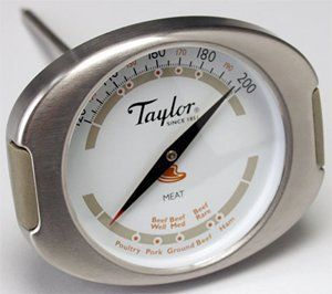"""Taylor Connoisseur Meat Thermometer - Dial by Taylor. $20.00. Sold individually. Capacity: 120 - 200°F/45 - 95C in 5°F/1C increments. This indispensable analog meat thermometer looks great and is safe, fast, dependable, and easy .... Dimensions: dial: 2¼""""Dia; overall: 3""""W; stem: 4½""""L. This indispensable analog meat thermometer looks great and is safe, fast, dependable, and easy to use. Constructed of brushed stainless steel, the thermometer has silicone grips for saf..."""