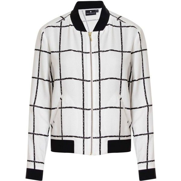Emily Lovelock - Checkered Bomber ($160) ❤ liked on Polyvore featuring outerwear, jackets, checkered jacket, checked bomber jacket, lightweight jackets, lightweight bomber jacket and light weight jacket