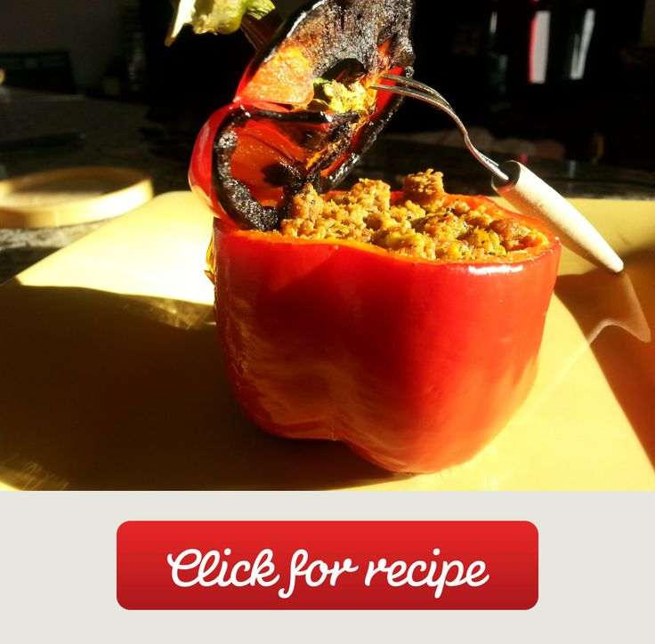 Roasted Bell Pepper Stuffed With Spicy Beef. East Recipe. You can mix ...