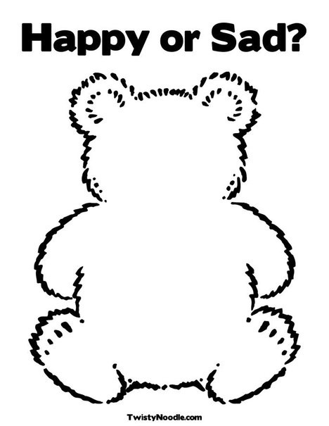 Happy Or Sad Teddy Bear Coloring Page Toddler Activities Crafts