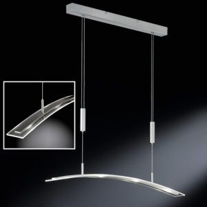 höhenverstellbare LED-Pendelleuchte mit Glasschirm in gebogenem Design
