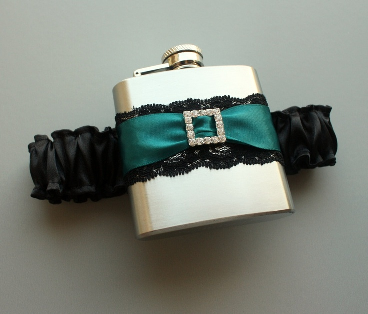 Im sure I will be needing this my wedding day! lol   Rhinestone Buckle FLASK GARTER  Black and Teal  by MoonshineBelle, $40.00