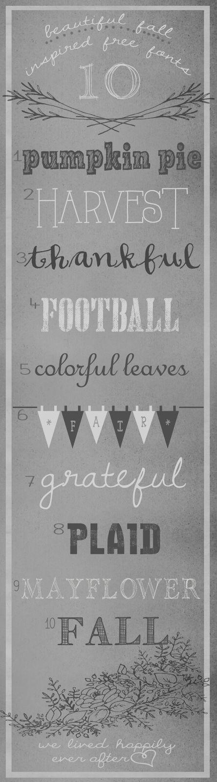1. Pumpkin Pie | Bad Striped 2. Harvest | Always Here3. Thankful | Soft Script 4. Football | Hand...