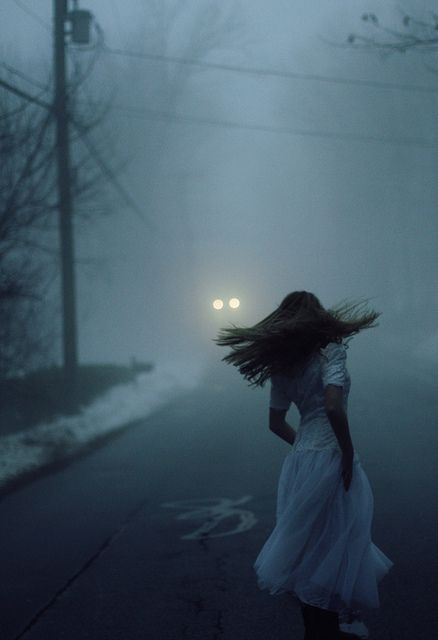 """""""Run..."""" The voice spoke. """"Run..."""" So, I ran. Two lights met my gaze, a car in the distant. I cowered near the edge of the road, afraid of what was to come. """"Please don't hurt me."""" I whispered into my arm."""