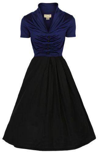 Lindy Bop 'Elsa' Classy Vintage 1950's Rockabilly Swing Jive Shirt Dress (XS, BLUE BLACK) Lindy Bop,http://www.amazon.com/dp/B00FFXJ4B8/ref=cm_sw_r_pi_dp_OJXCsb1CRFCHKR5Z