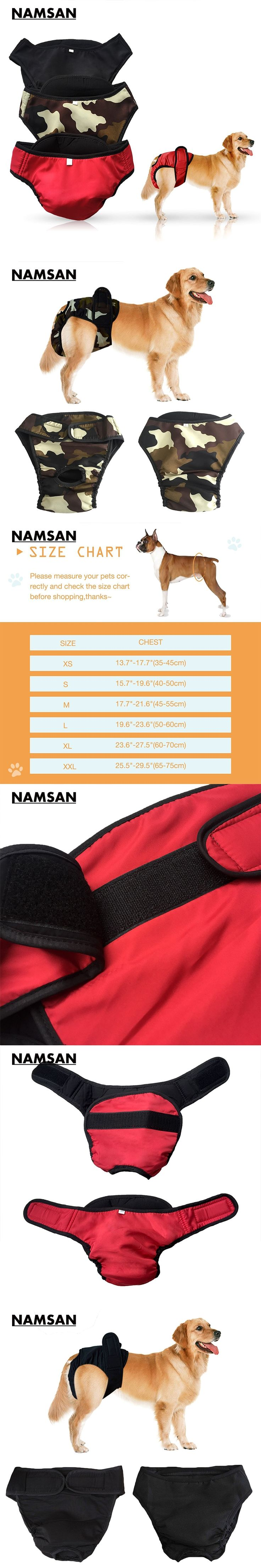 Namsan Large Dog Diaper Sanitary Physiological Pants S-XL Washable Female Dog Shorts Panties Menstruation Underwear Briefs Pet