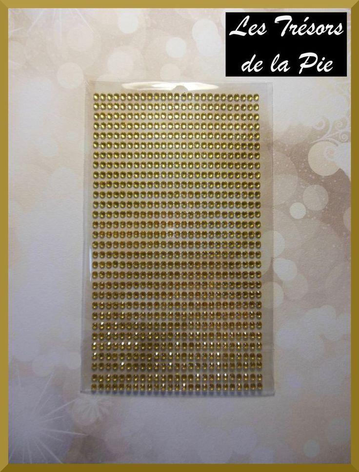 STRASS CRISTAL 3D ADHESIFS (x725) - Nail art - RONDS - 3mm - Doré