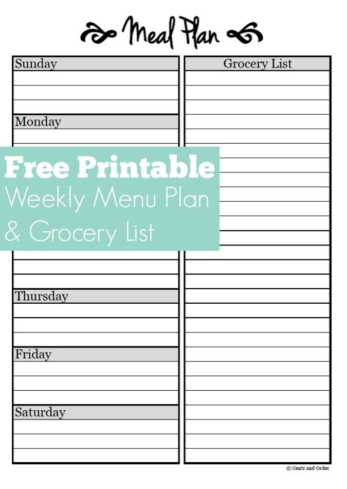 Free Weekly Meal Planner Printable. Plan Breakfast, Lunch, And Dinner For  The Week  Menu Planner Template Free