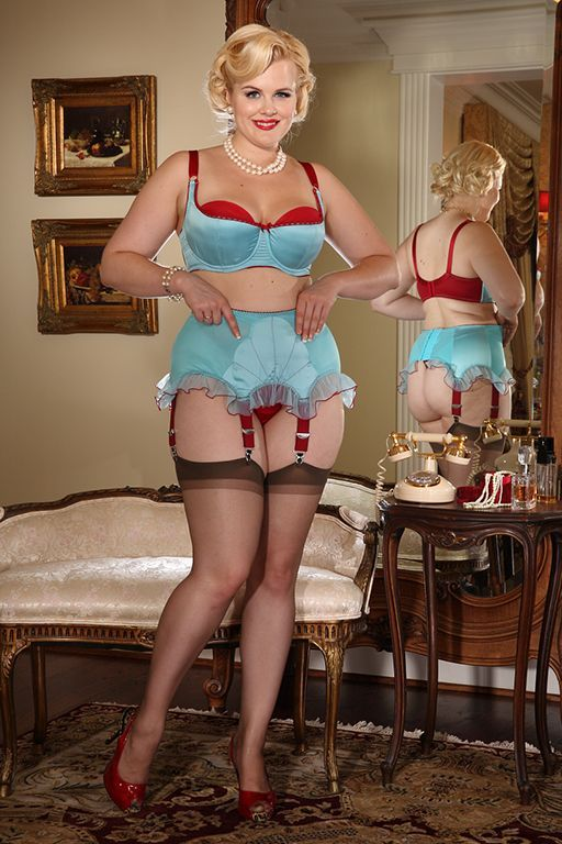 Our Retro Blue Plunge Bra and matching Ruffled Garter Belt ...