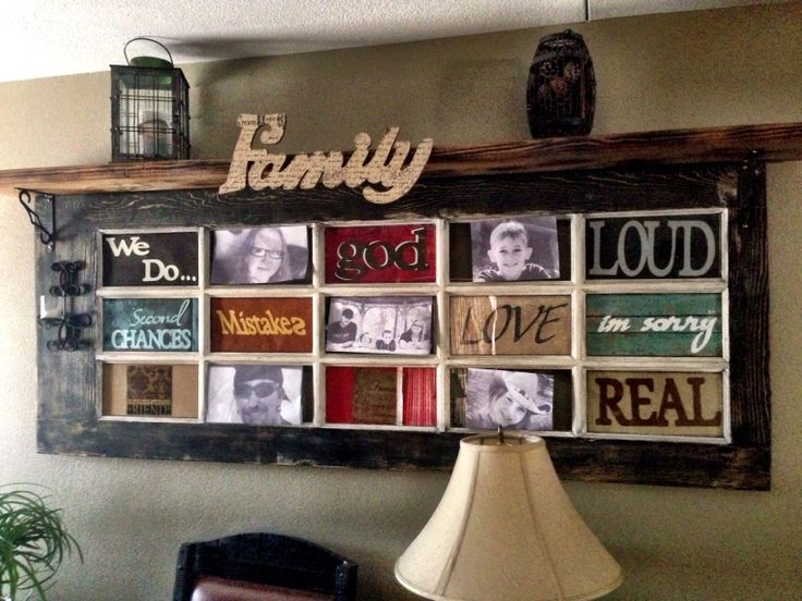 Antique wood door made into picture frame.  Refinished painted distressed and shelf added. 04/05/14