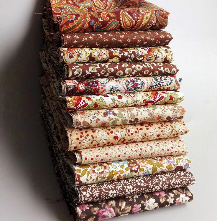 12 шт. 23 СМ * 24 СМ браун Ретро хлопок лоскутная ткань для шитья ремесла tecidos стежка ткани тильда куклы ткань ремесло материалы купить на AliExpress