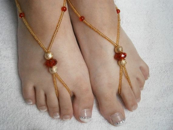 Beaded Barefoot Sandals  Red and Gold Foot by GlamorousSparkle, €15.00