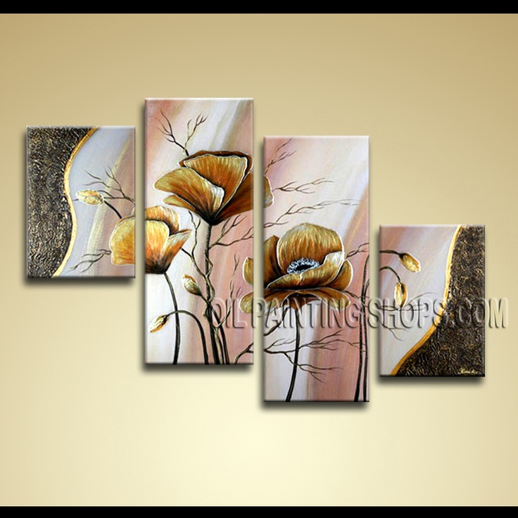 Enchant Contemporary Wall Art Hand-Painted Art Paintings For Bath Room Poppy Flowers. This 4 panels canvas wall art is hand painted by Anmi.Z, instock - $145. To see more, visit OilPaintingShops.com