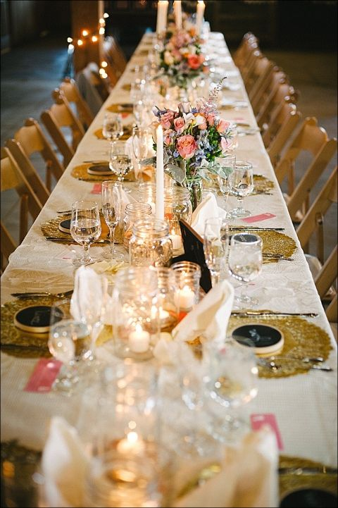 Majon jar tea lights, gold doilies and pink flowers (could use the bridemaids bouquets as centerpieces)