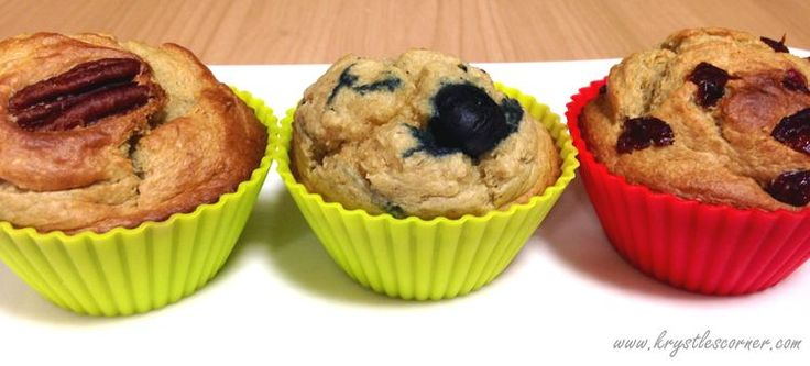 Healthy gluten free muffins three flavours. www.krystlescorner.com