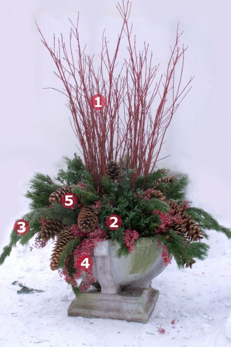 "I like the use of sugar cones as a ""trailer"" 1. Red Twig Dogwood   2. Boxwood   3. Shore Pine 4. Pepperberry Tips   5. Sugar Pine Cones..."