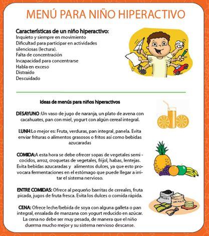 Menú para niño hiperactivo #nutricipn #infantil