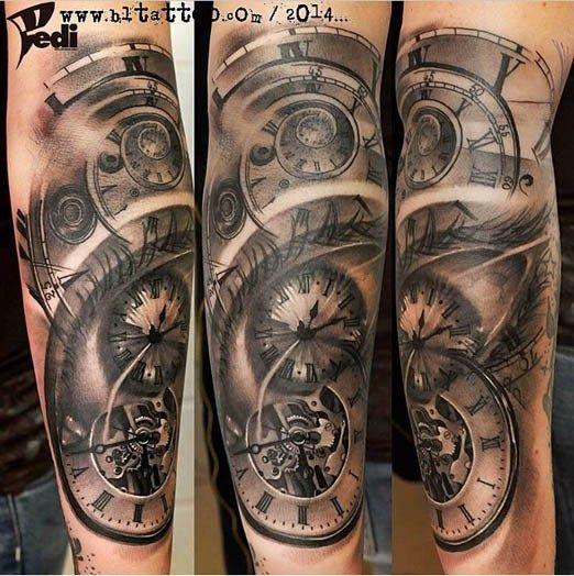 awesome piece by Pedi. #Inked #Inkedmag #tattoo #eye #realism #black #grey #work #clock
