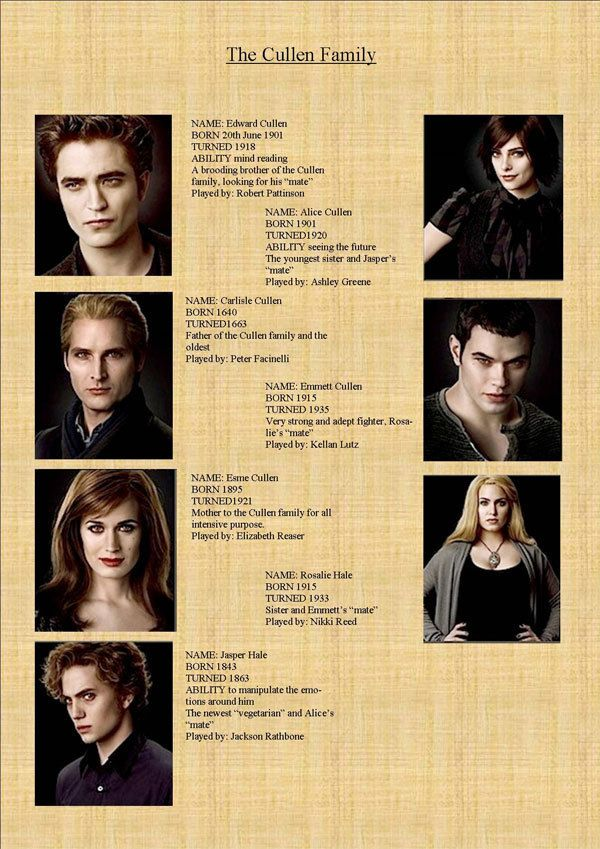The Cullens  (before Bella)