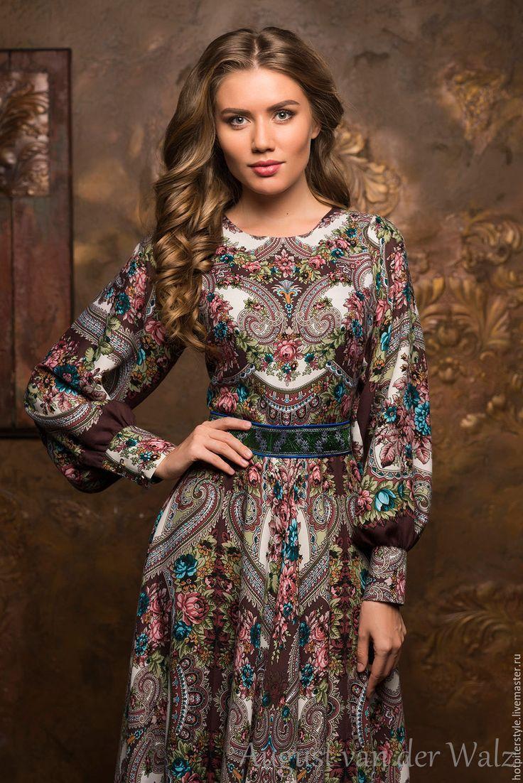 """Купить """"Букеты де Флёр"""" платье в Русском стиле - цветочный, платье из платка, макси платье"""