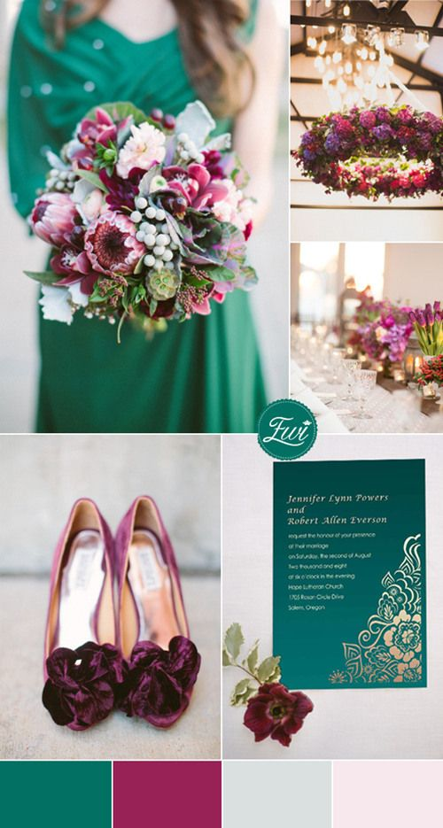 jewel tones inspired emerald green and maroon wedding color ideas and wedding invitations #weddingcolors