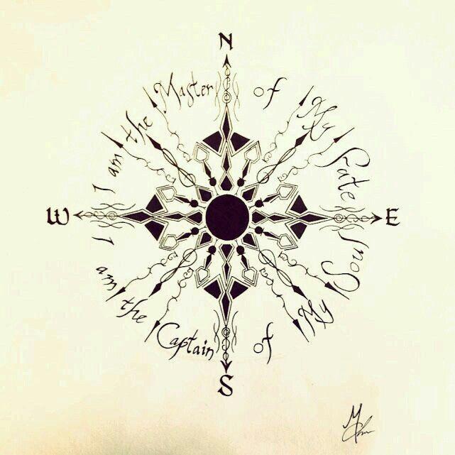 "Beautiful Compass Tattoo Design Idea! "" I am the master of my fate. I am the captain of my soul."""