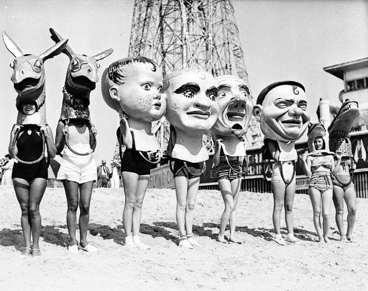 Women Wearing Masks on Venice Beach - Uncategorized California, Los Angeles, Masks, Venice Beach 1930.