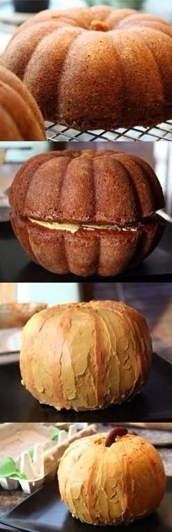 Pumpkin shaped cake Frost orange or white and add a face for Halloween or make without a face for Thanksgiving .