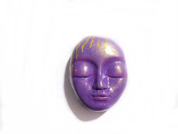 Purple Carved Face Purple Face Cabochon Purple Carved