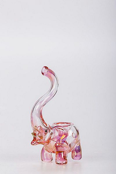 """Elephant Spoon Smoking Pipe - 4.6"""" pyrex artistic glass pipe - gold-plated and cute! #elephant #glasspipes #goldplated"""