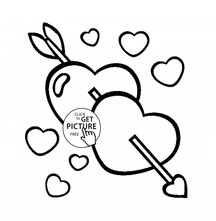 hearts with arrow coloring page for kids for girls coloring pages printables free wuppsy