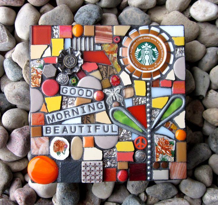 GOOD MORNING BEAUTIFUL coffee starbucks mosaic mermaid mixed media wall art contemporary recycled upcycled