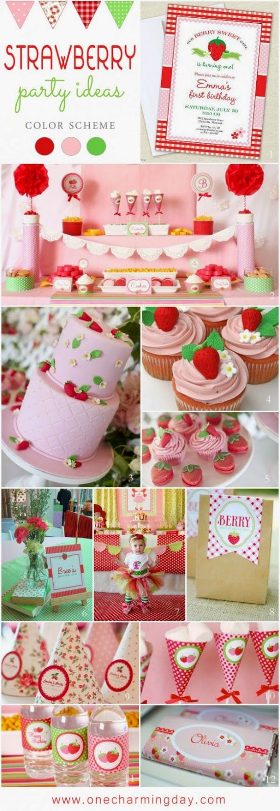 Strawberry First birthday theme cake