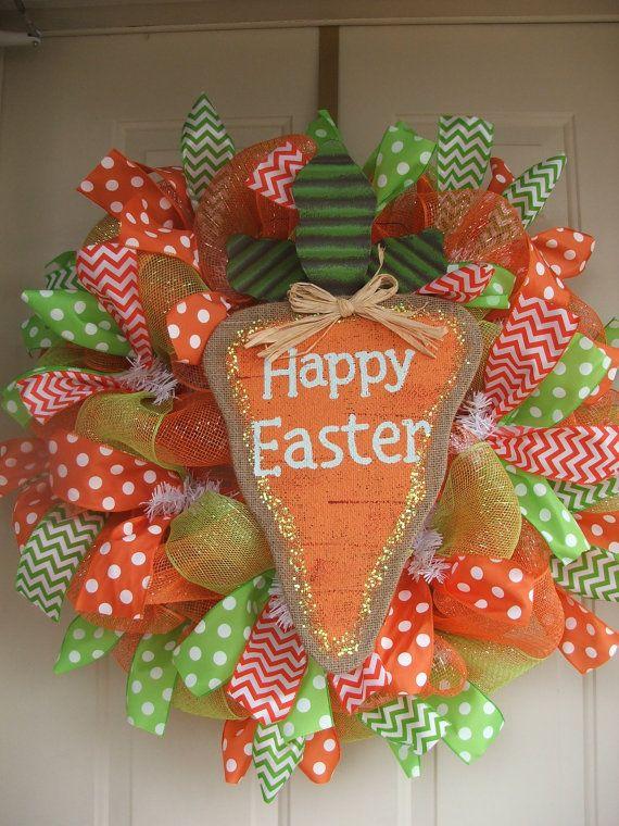 Happy Easter Burlap Carrot Mesh Wreath by TowerDoorDecor on Etsy, $60.00