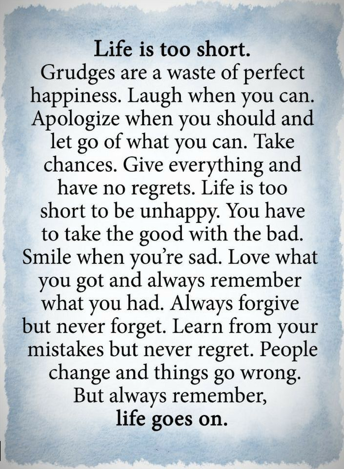 Quotes Life is too short. grudges are a waste of perfect happiness. Laugh when you can. Apologize when you should and let go of what you can.