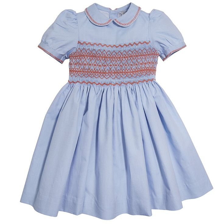 Classic handsmocked dress - Blue and coral