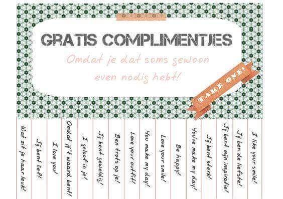 Complimentjes om af te scheuren en aan iemand te geven.