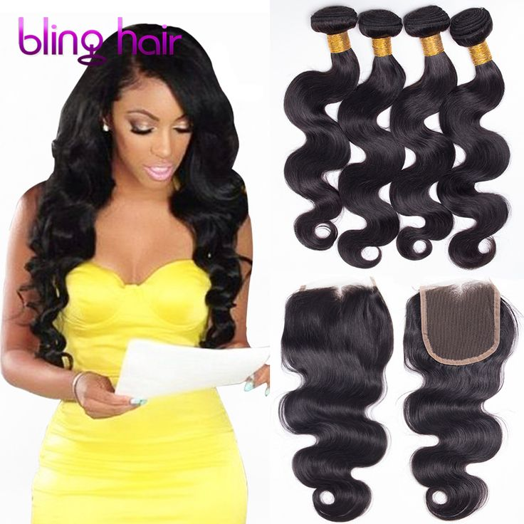 Brazilian Body Wave with Closure Cheap Human Hair 3or4 Bundles Body wave with Closure, 7A Brazilian Virgin Hair with Closure