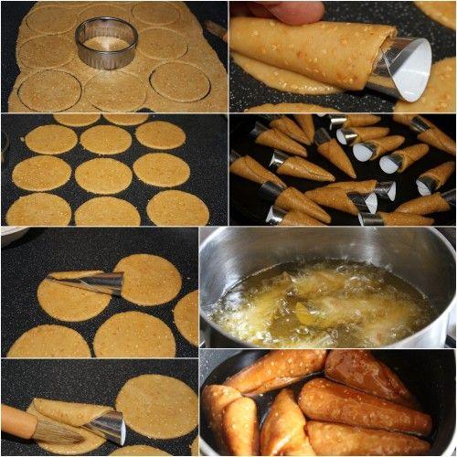 abonnez vous a ma newsletter si vous ne voulez rater aucune de mes réalisations. merci la recette du Gâteau Algérien que je vous poste aujourd'hui et la recette des cornets frits trempés dans le miel et farcis aux (amandes, noix de coco,et halwa turque),...