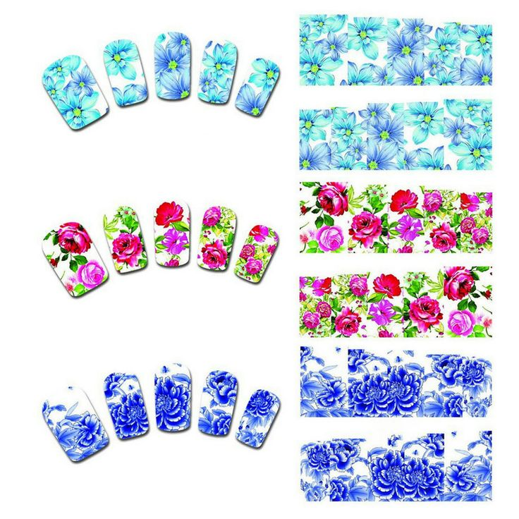 2015 Pretty 50 Sheets Flower Nail Art Stickers Manicure Decals DIY Accessories Quality New Arrival #Affiliate