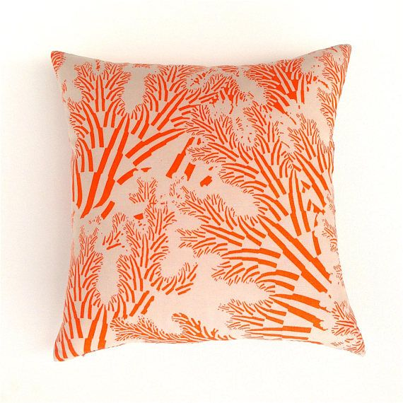 Orange Cushion Cover. Marimekko Sea Grass Print. Tropical Sea