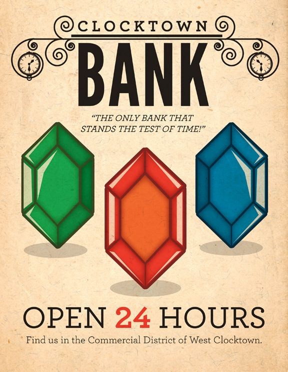 zelda clocktown bank poster