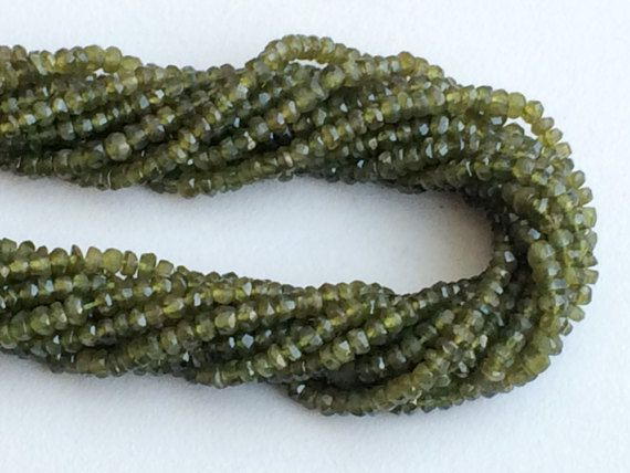 Vessonite Beads Natural Green Vessonite Faceted by gemsforjewels