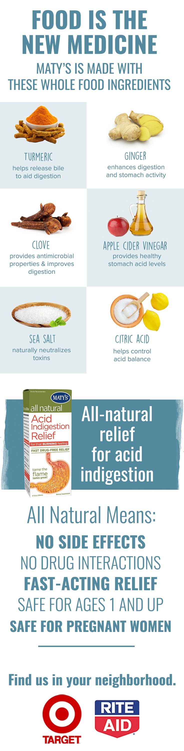 A natural remedy to treat heartburn, acid indigestion, GERD, and acid reflux with no side effects and no drug interactions. Skip the drugs and try Maty's natural Acid Indigestion Relief for heartburn.