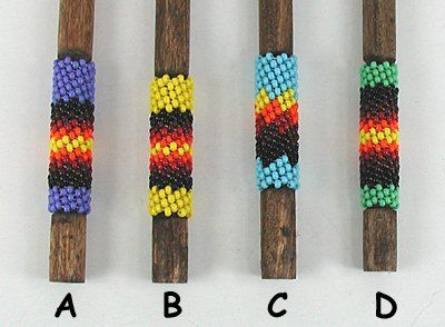 Authentic Native American beaded wooden pipe pick by Lakota Alan Monroe