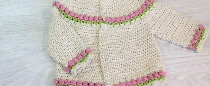 baby crochet cardigan with tulip stitch free pattern with video tutorial